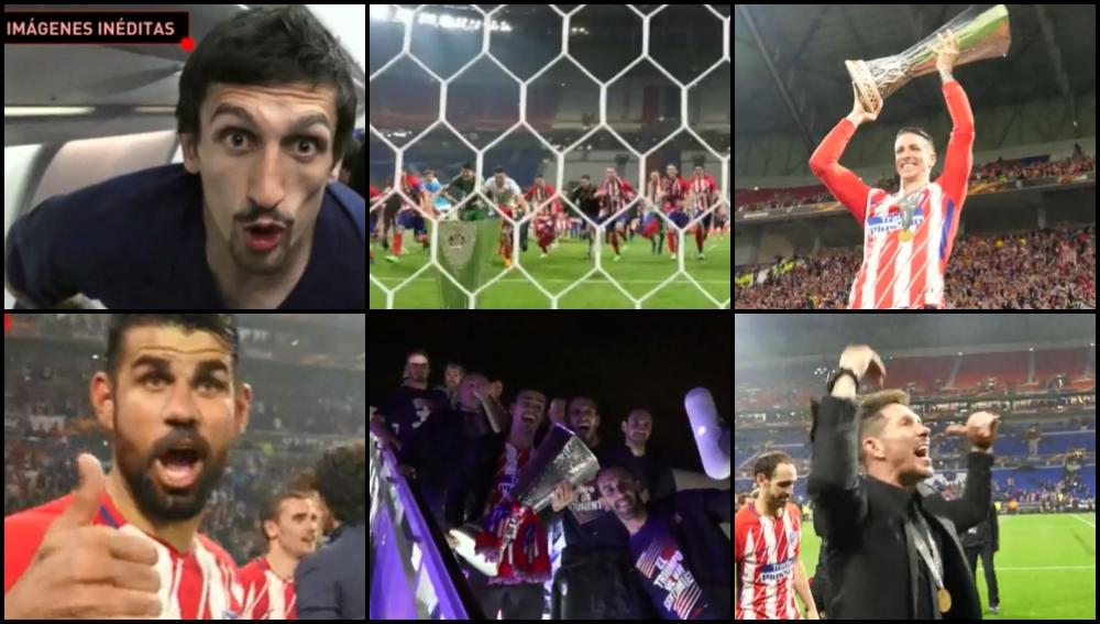 Los jugadores del Atlético celebran el título conseguido
