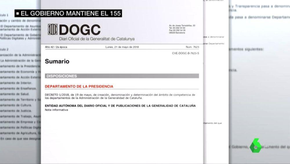 El 155 sigue en Cataluña: el Gobierno no publica en el Diario de la Generalitat los nombramientos de los consellers