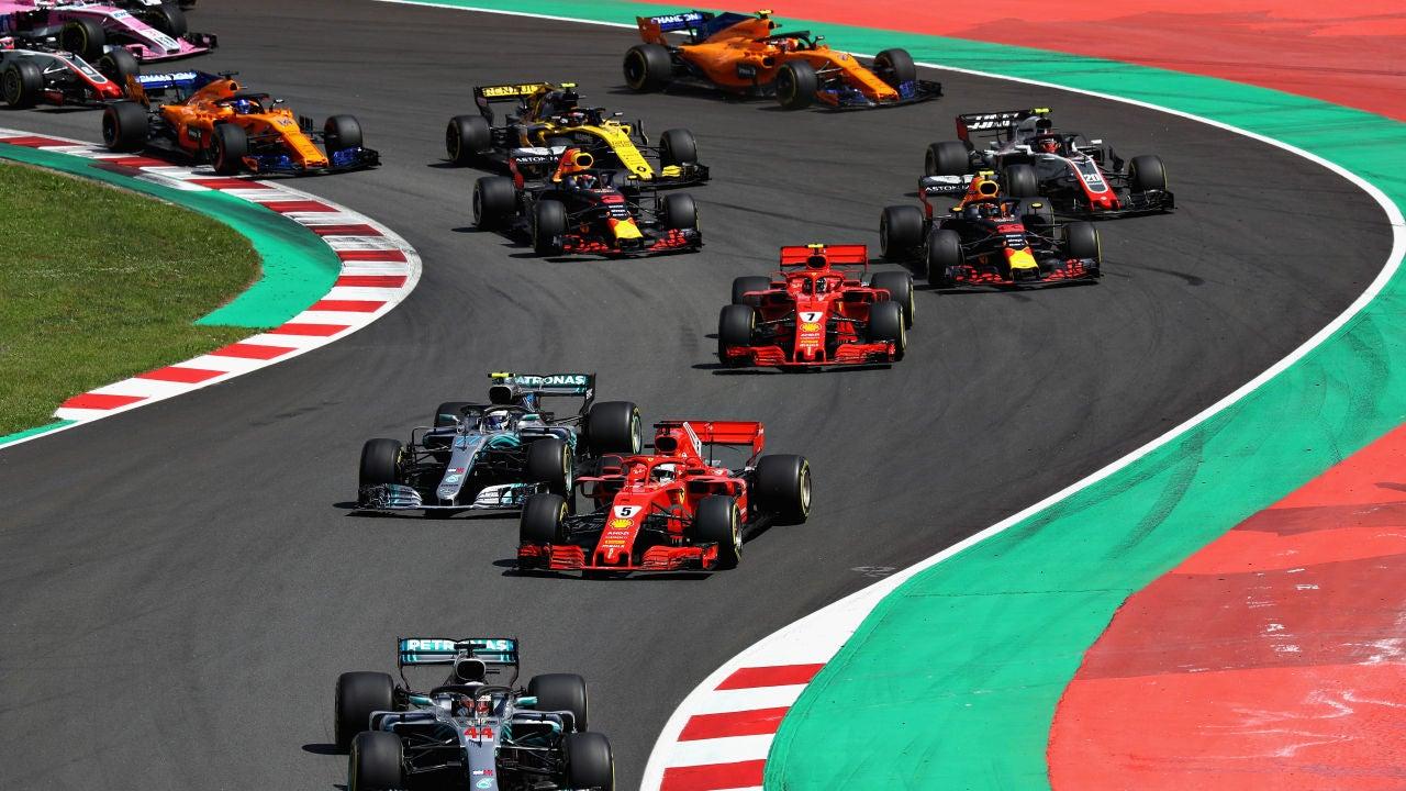 Los monoplazas, tras la salida del GP de España
