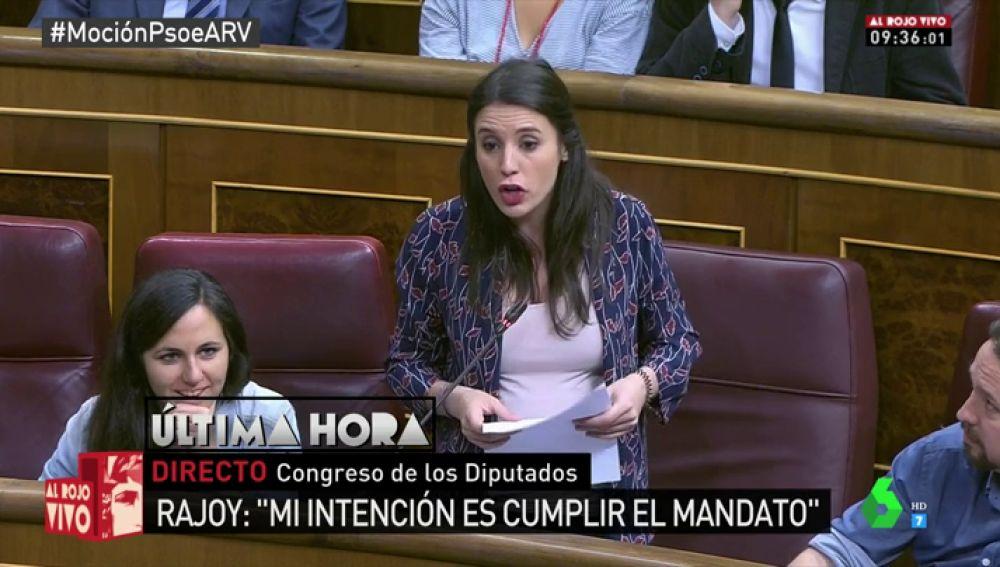 """Irene Montero, a Catalá: """"Usar las cloacas del Estado, destrozar lo público y robar les convierte en los enemigos más grandes de España"""""""