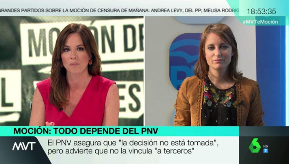 """Andrea Levy afea al PSOE la moción de censura a Rajoy: """"Señor Sánchez, si quiere gobernar, gane elecciones"""""""
