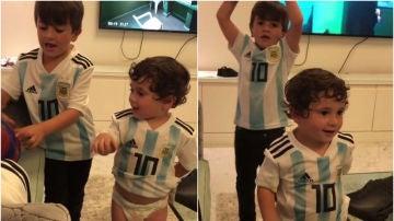 """Los hijos de Messi cantan el """"¡Vamos, vamos Argentina!"""""""