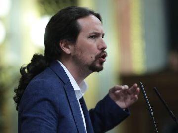 Pablo Iglesias en la sesión de la moción de censura