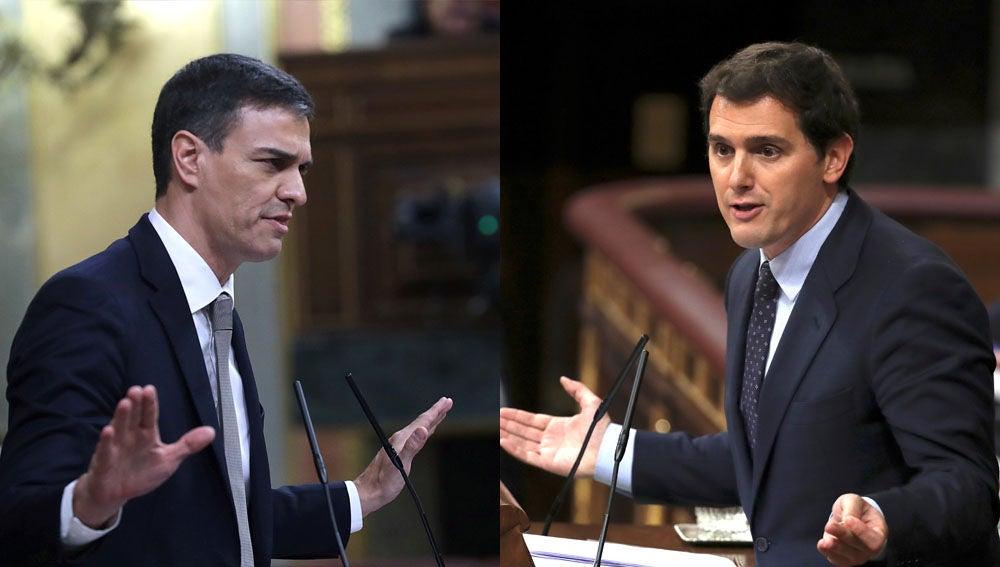 Pedro Sánchez y Albet Rivera