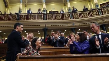 El Secretario General del PSOE Pedro Sánchez, a su llegada al hemiciclo