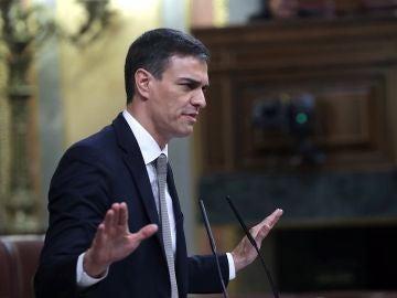 El líder del PSOE, Pedro Sánchez durante su intervención en el debate
