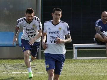 Messi, Di María y Sampaoli