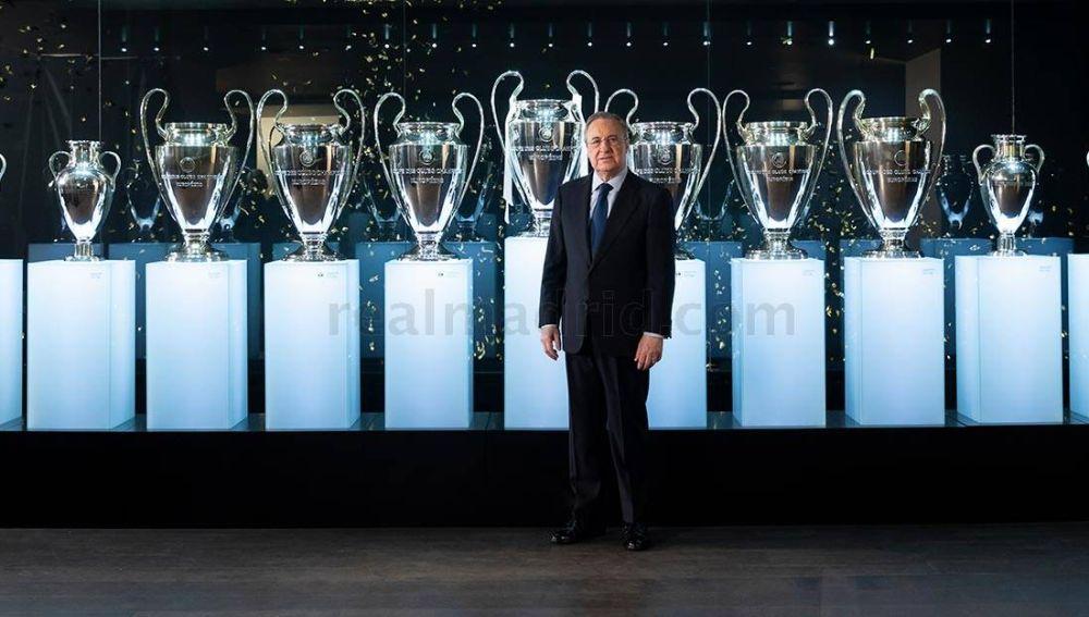 Florentino Pérez coloca la Decimotercera en la vitrina del Bernabéu