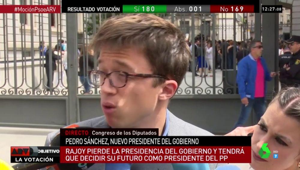 """Errejón, tras la moción de censura: """"Nos hemos librado de Rajoy y del PP, pero eso es solo el principio del camino"""""""