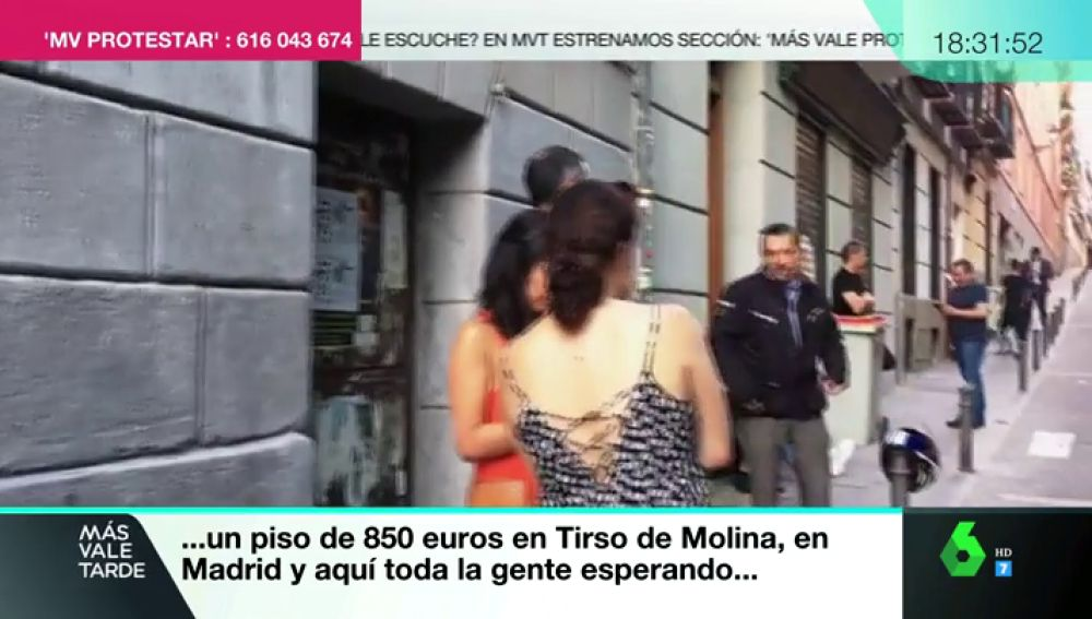 Castings multitudinarios en plena calle para alquilar un piso: la denuncia de una joven en Más Vale Protestar