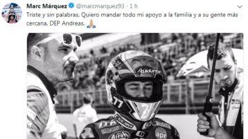 Tuit de Marc Márquez lamentado la muerte de Andreas Pérez