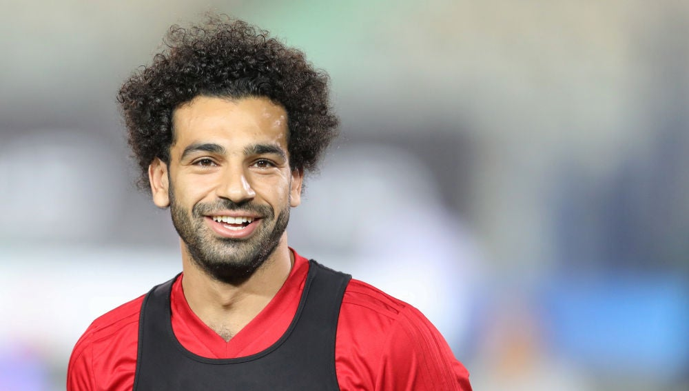 Mohamed Salah, estrella de Egipto, en un entrenamiento