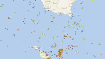 La ubicación actual del barco Aquarius