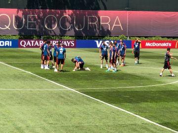 Carvajal, en el entrenamiento de la selección española en Krasnodar