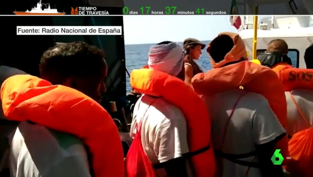 Inmigrantes a bordo del Aquarius