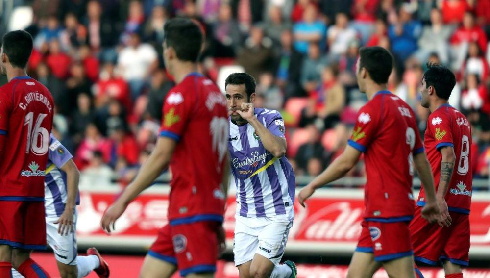 Kiko Olivas celebra su gol contra el Numancia