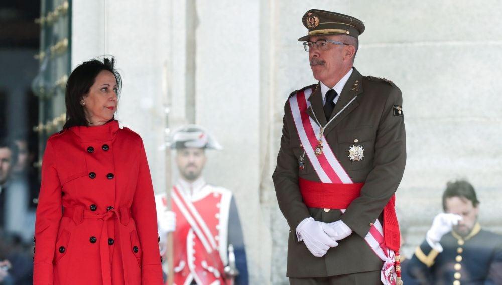 La ministra de Defensa Margarita Robles y el Jefe de Estado Mayor de la Defensa, general Fernando Alejandre