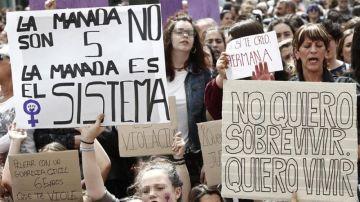 Manifestación en apoyo a la víctima de 'La Manada'