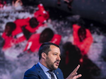 Salvini en la televisión italiana