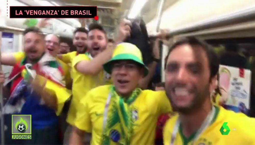 Los aficionados brasileños se vengan de los argentinos