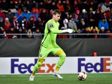Andriy Lunin, durante un partido de Europa League