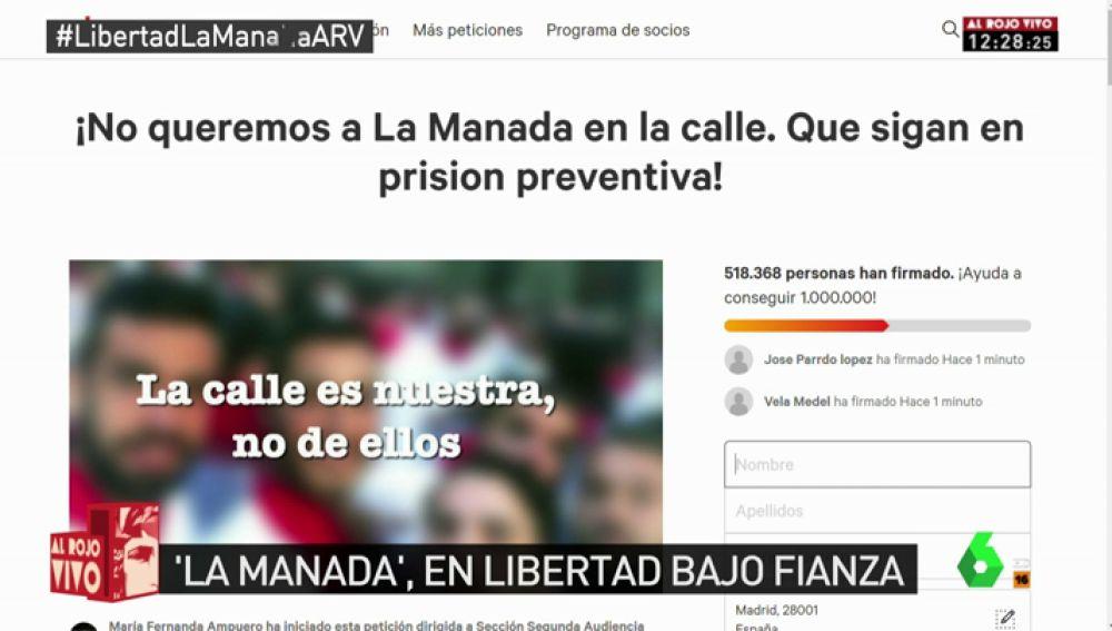 Más de medio millón de personas firman en menos de 24 horas para mantener a 'La Manada' en prisión