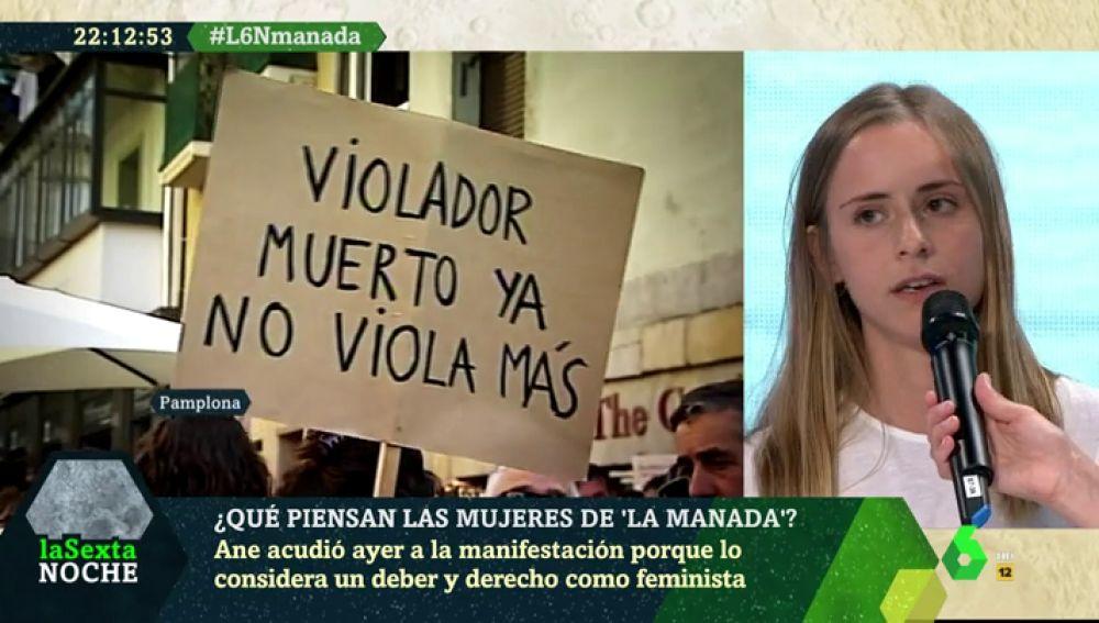 Ane, manifestante contra la libertad de 'La Manada'
