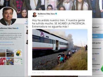 Fernández Vara protesta en Twitter por las malas condiciones de los trenes extremeños