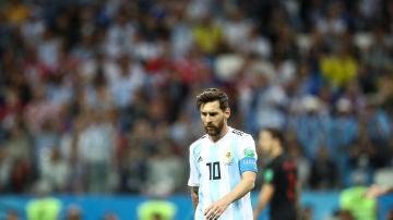 Messi, durante el partido contra Croacia