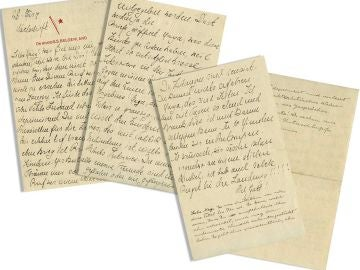 Imagen de las cuatro páginas de una carta escrita por Albert Einstein el mismo día en que el físico de origen judío renunció a su ciudadanía alemana
