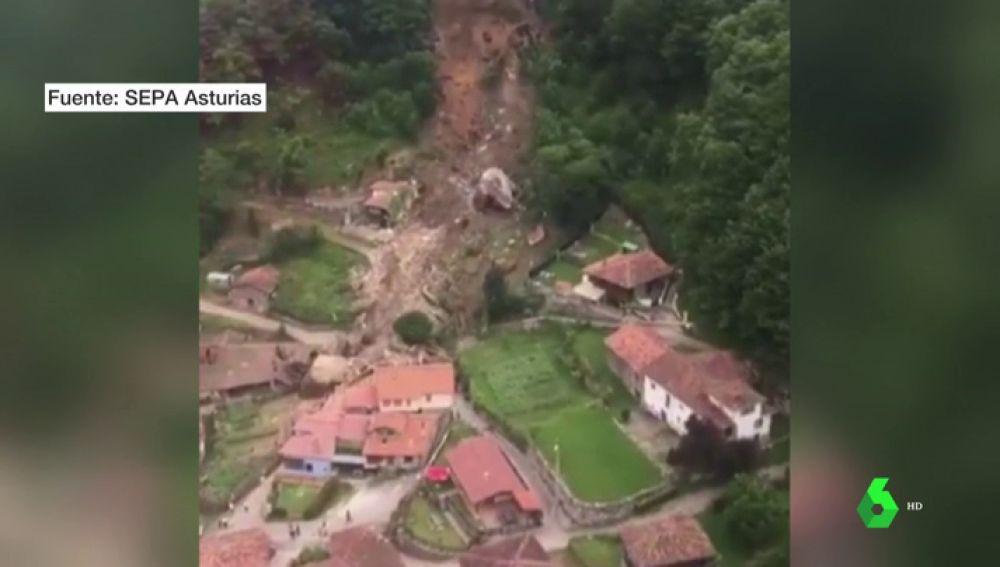Imagen del derrumbamiento en Asturias.