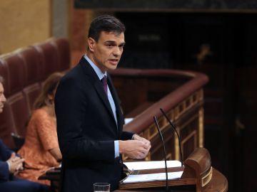 El presidente del Gobierno, Pedro Sánchez, durante su comparecencia en el Congreso