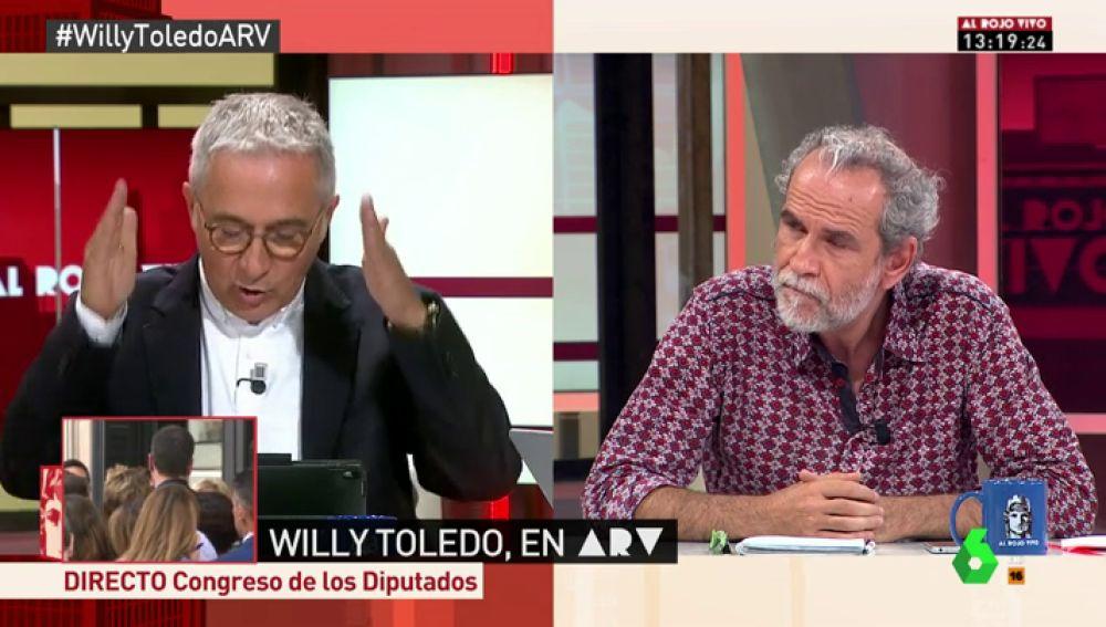 """La calidad democrática de España provoca un tenso debate entre Willy Toledo y Xavier Sardà: """"En Cuba hay pena de muerte, coño"""""""