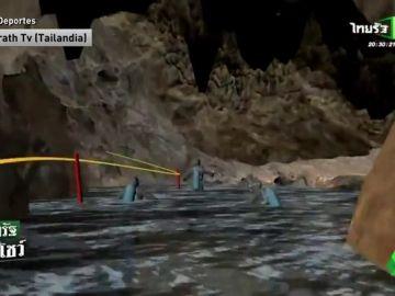 Así es el peligroso trayecto que han de hacer los niños para salir de la cueva de Tailandia