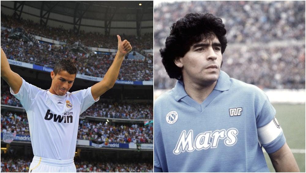 Cristiano en el Real Madrid y Maradona en el Nápoles