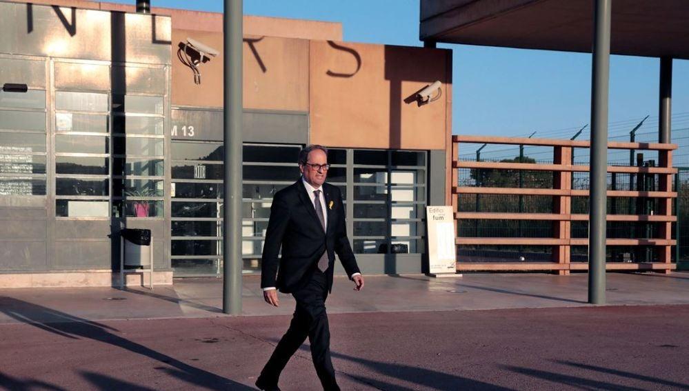 Quim Torra a la salida del centro penitenciario 'Els Lledoners'