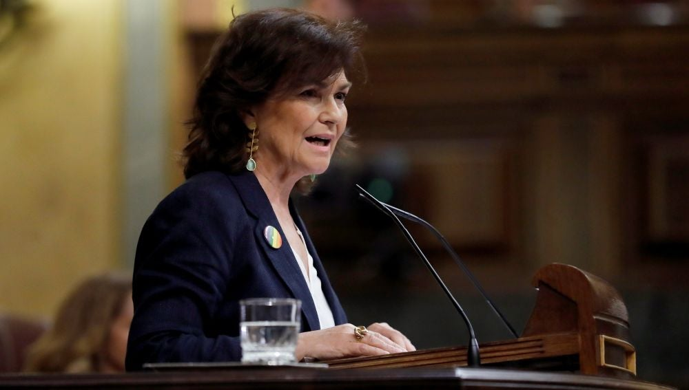 La vicepresidenta, Carmen Calvo, en el Congreso