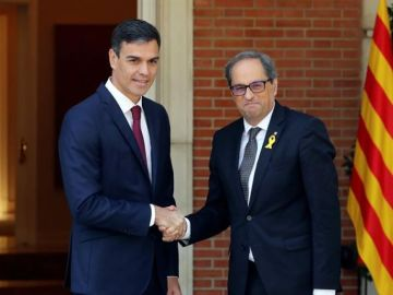 laSexta Noticias 14:00 (09-07-18) Pedro Sánchez y Quim Torra finalizan dos horas y media de una reunión marcada por los gestos de coordialidad