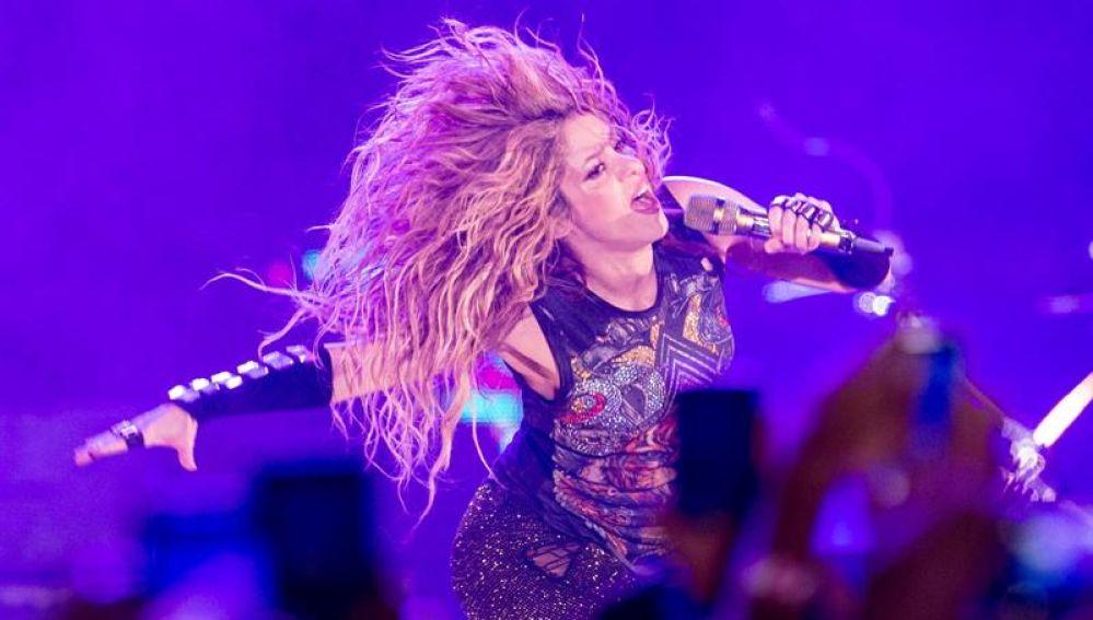 La cantante colombiana Shakira, durante el concierto en Barcelona