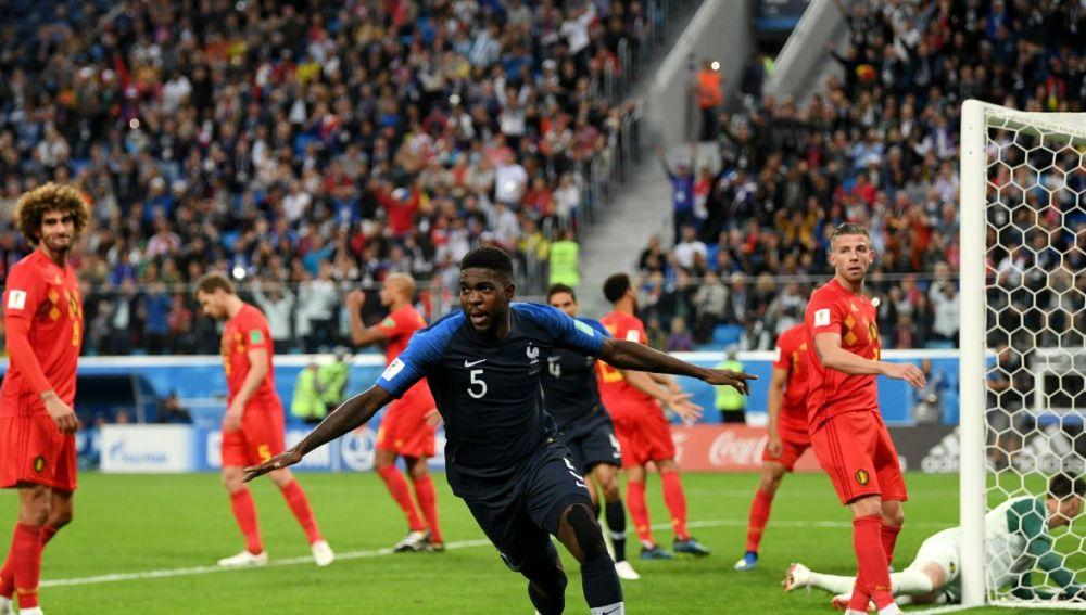 Umtiti celebra su gol ante Bélgica