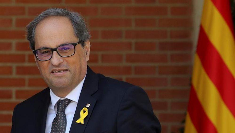 El presidente regional catalán, Quim Torra, a su llegada al Palacio de La Moncloa
