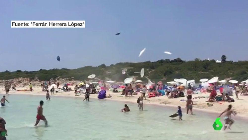 Remolino de viento en Menorca.