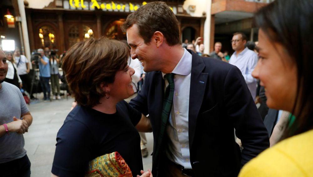 Los candidatos a la Presidencia del PP Pablo Casado y Soraya Sáenz de Santamaría