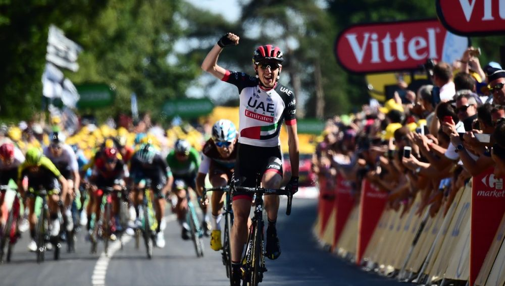 El irlandés Daniel Martin celebra su victoria en la etapa