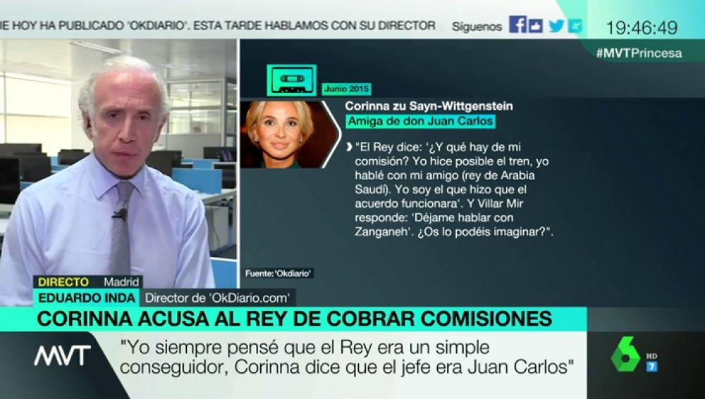 Eduardo Inda habla sobre las grabaciones de Corinna en Más Vale Tarde.