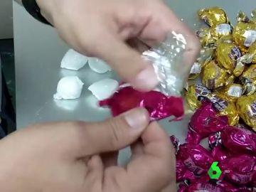 Cocaína encontrada en bombones