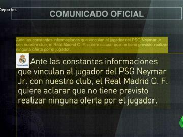 """El Real Madrid informa que """"no tiene previsto realizar ninguna oferta"""" por Neymar"""