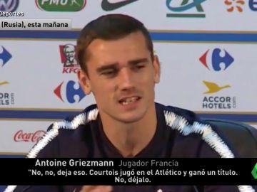 """El palo de Griezmann a Courtois en rueda de prensa: """"Ha jugado en el Atlético de Madrid, juega en el Chelsea, creo que juega como el Barça"""""""