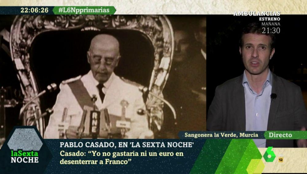"""Pablo Casado: """"Yo no gastaría ni un euro en desenterrar a Franco. No hay que mirar a lo que pasó hace 100 años"""""""