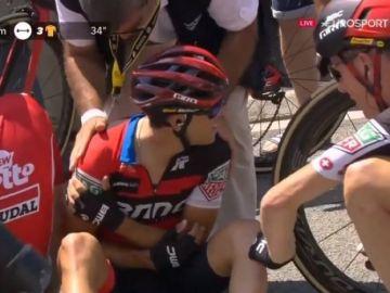 Richie Porte, en el momento de su retirada del Tour de Francia